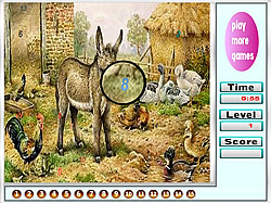 Big Farm Animals Hidden Numbers game
