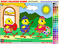 Game Coloring Easter Chicks - Rossy Coloring Games