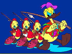 Permainan Donald and Family Online Coloring